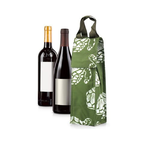 Zodaca Thermal Insulated Wine Carrier Wine Bottle Carrier Carrying Case, Green Turtle