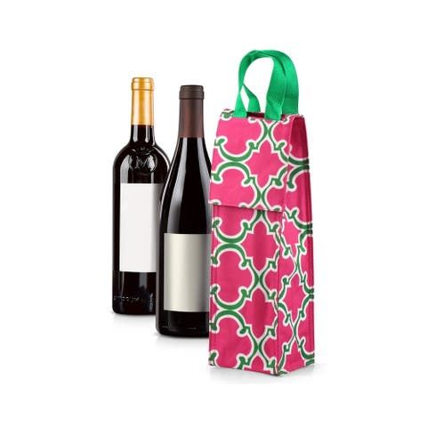 Zodaca Thermal Insulated Wine Carrier Wine Bottle Carrier Carrying Case, Pink with Green Trim Quadrefoil