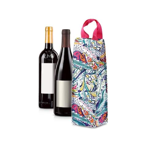 Zodaca Thermal Insulated Wine Carrier Wine Bottle Carrier Carrying Case, Multi-color Paisley