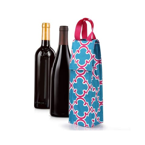 Zodaca Thermal Insulated Wine Carrier Wine Bottle Carrier Carrying Case, Blue Quatrefoil