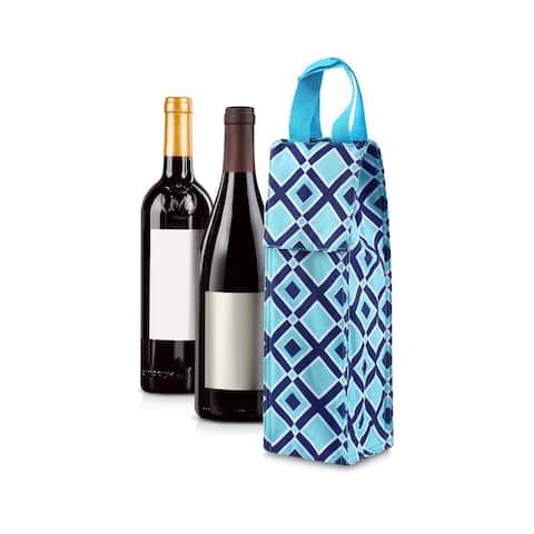 Zodaca Thermal Insulated Wine Carrier Wine Bottle Carrier Carrying Case, Blue Time Squares