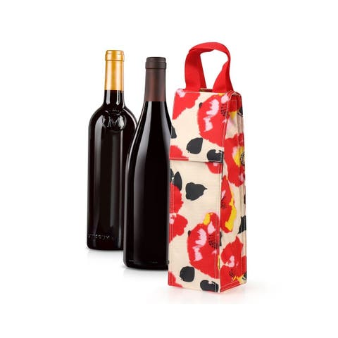 Zodaca Thermal Insulated Wine Carrier Wine Bottle Carrier Carrying Case, Red Poppy Print
