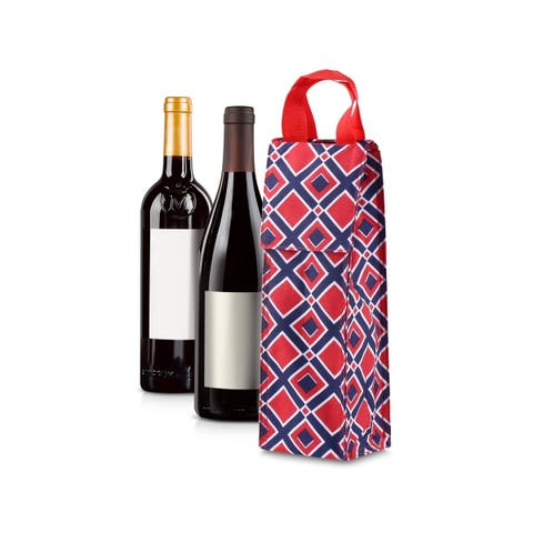 Zodaca Thermal Insulated Wine Carrier Wine Bottle Carrier Carrying Case, Red/Navy Time Squares