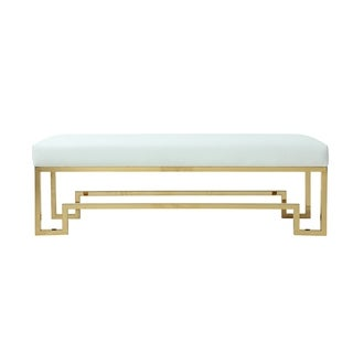 Rectangular Faux Leather Upholstered Bench with Stainless Steel Base, White and Gold