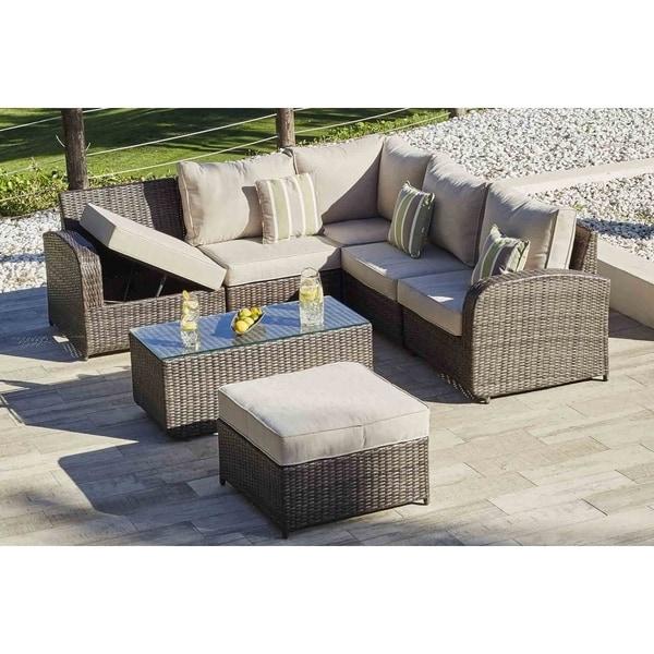 Shop Moda Jekyll 7 Piece Wicker Patio Sofa Set Outdoor