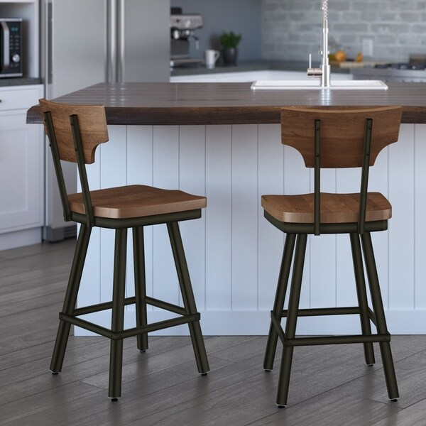Shop Carson Carrington Comber Distressed Wood Swivel Stool