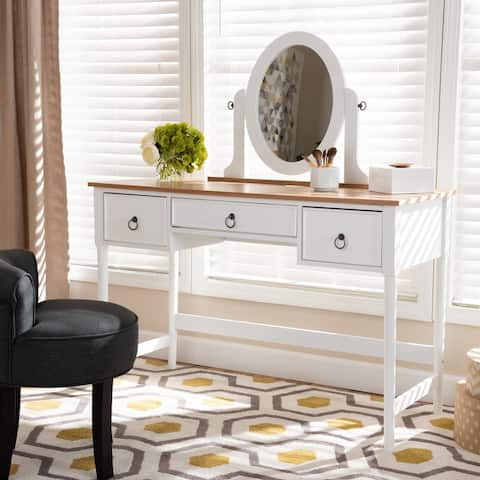 Baxton Studio Traditional White Wood 3-drawer Vanity Table with Mirror