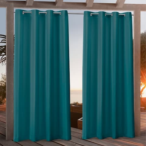 Nicole Miller Canvas Outdoor Grommet Top Curtain Panel Pair