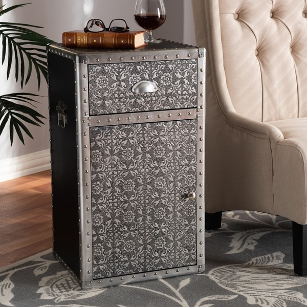 Industrial Silver Metal Floral Accent Cabinet