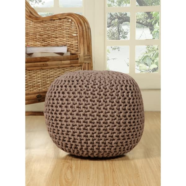 Fantastic Shop Lychee Knitted Cotton Round Pouf Ottoman Free Ncnpc Chair Design For Home Ncnpcorg