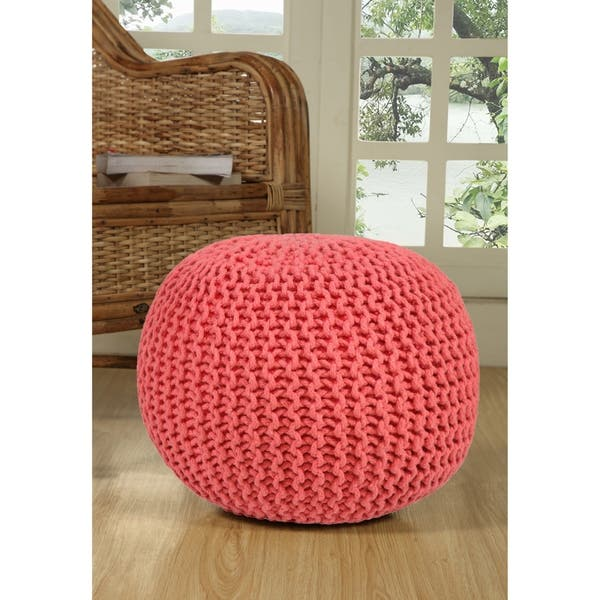 Strange Shop Lychee Knitted Cotton Round Pouf Ottoman Free Ncnpc Chair Design For Home Ncnpcorg