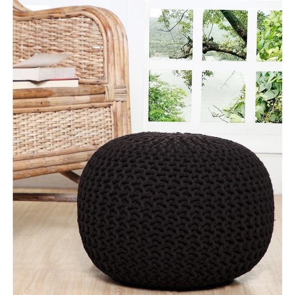 Tremendous Shop Lychee Knitted Cotton Round Pouf Ottoman Free Ncnpc Chair Design For Home Ncnpcorg