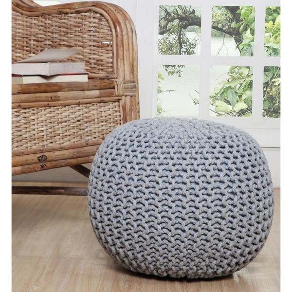 Cool Shop Lychee Knitted Cotton Round Pouf Ottoman Free Ncnpc Chair Design For Home Ncnpcorg