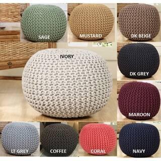 Lychee Knitted Cotton Round Pouf Ottoman