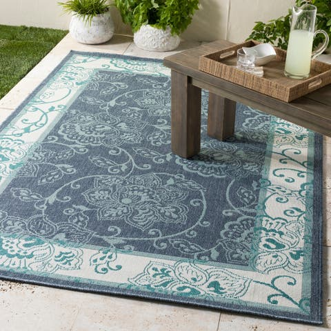 "Teofila Transitional Indoor/ Outdoor Area Rug - 5'3"" Round"