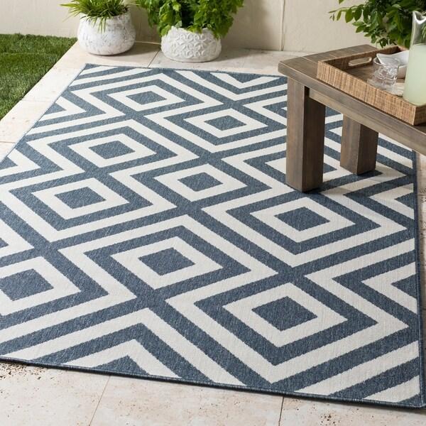 """Alvise Geometric Indoor/ Outdoor Area Rug - 7'3"""" Square"""
