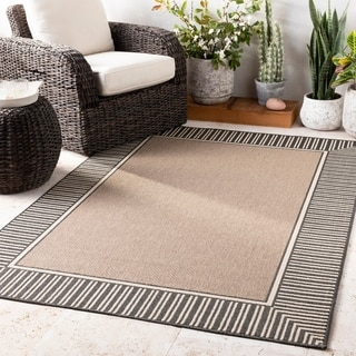 """Grayson Bordered Indoor/ Outdoor Area Rug - 7'3"""" Square"""