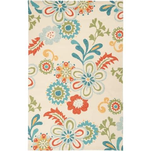 Hand-hooked Kim Transitional Floral Indoor/ Outdoor Area Rug - 10' x 14'