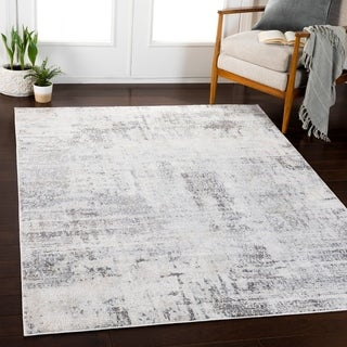 "Strick & Bolton Jaden Grey Distressed Abstract Area Rug - 6'7"" x 9'"