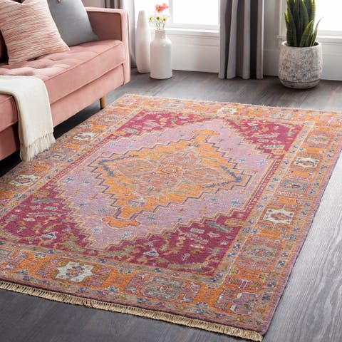 Hand-Knotted Joe Border New Zealand Wool Area Rug - 10' Round - 10' Round