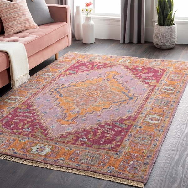 Hand-Knotted Joe Border New Zealand Wool Area Rug - 10' Round