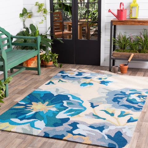 Hand-Hooked Deon Floral Area Rug - 10' x 14'