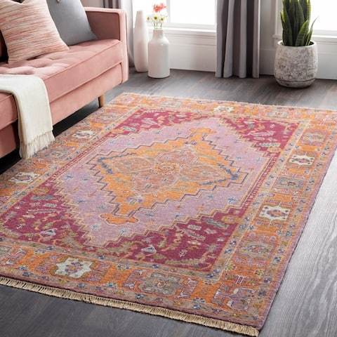 Hand-Knotted Joe Border New Zealand Wool Area Rug - 12' x 15'