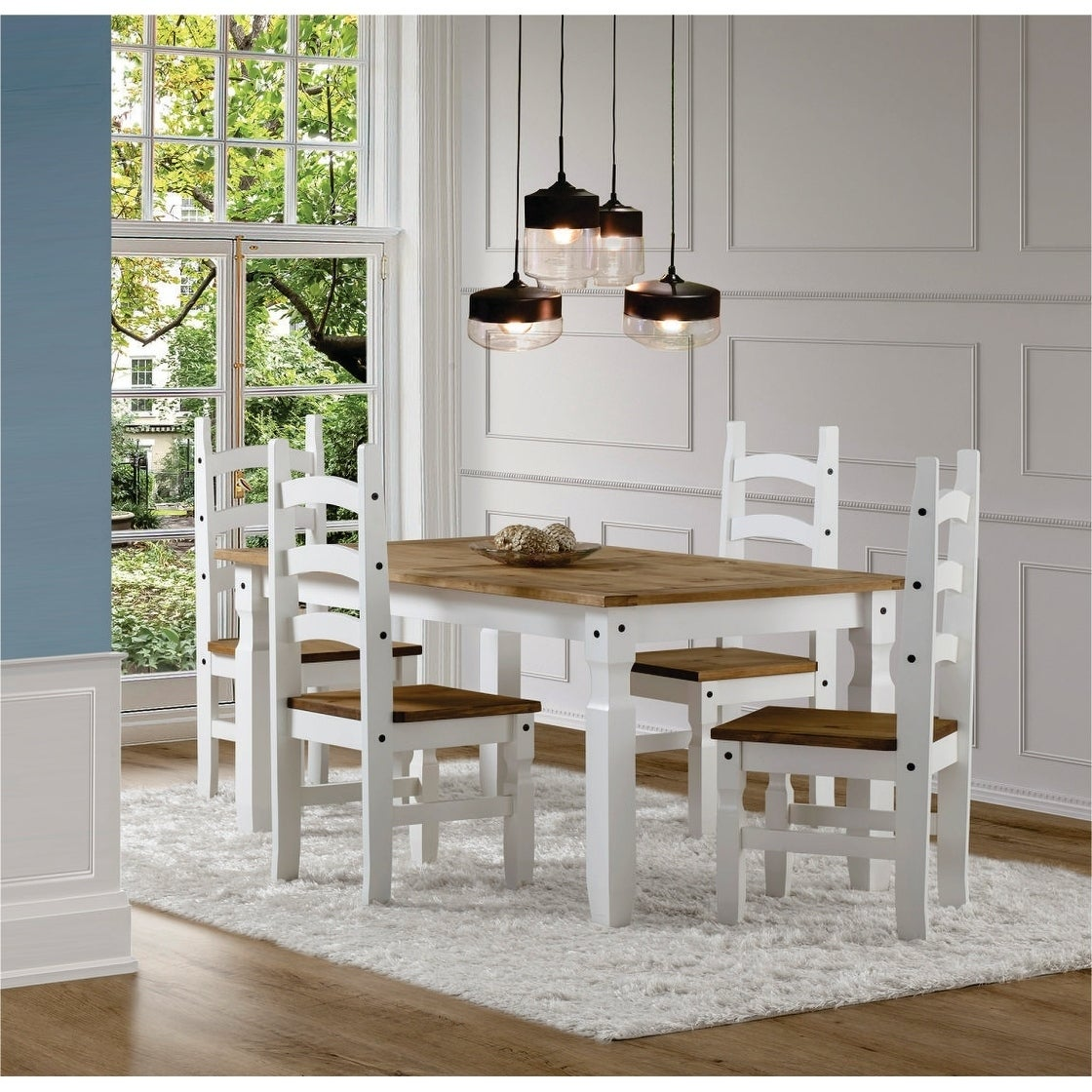 Peachy Corona 5 Piece White Wood Dining Room Set Gmtry Best Dining Table And Chair Ideas Images Gmtryco