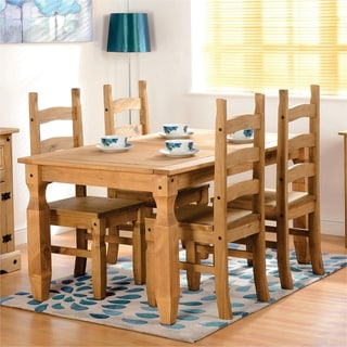 Corona 5 Piece White Wood Dining Room Set