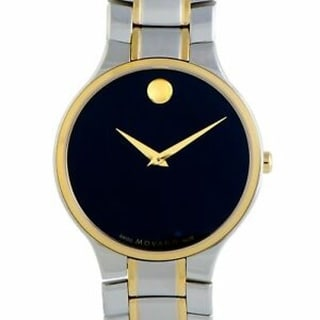 Movado Serio Stainless Steel and Gold PVD Black Dial - Silver
