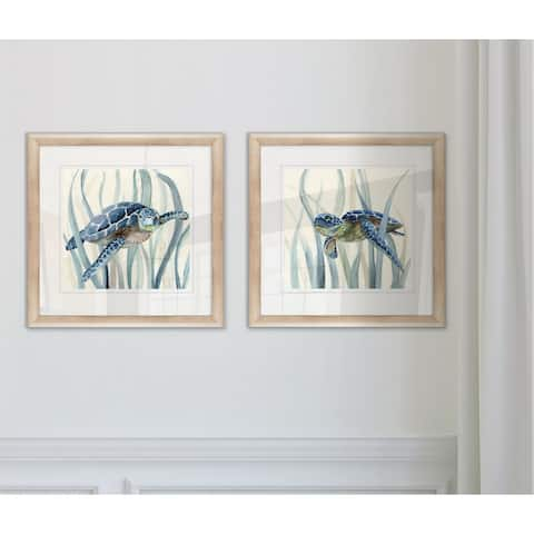 Wexford Home 'Turtle in Seagrass' I-framed 2-piece Giclee Set