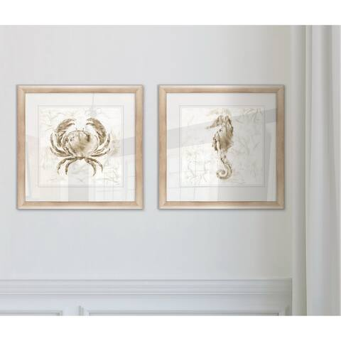 Wexford Home 'Soft Marble Coast Crab' Framed 2-piece Art Set