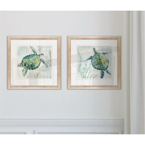 Wexford Home 'Seaglass Turtle' Framed Wall Art (Set of 2)