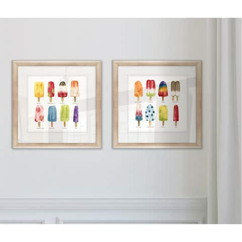 'Popsicles Come Chill' Framed Wall Art (Set of 2)