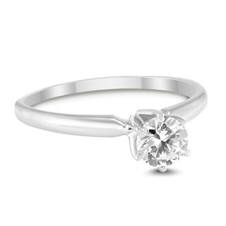 1 2 Carat Round Diamond Solitaire Ring In 14K White Gold