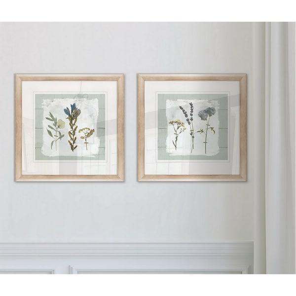Wexford Home 'Pressed Flowers on Shiplap I' Framed Prints (Set of 2)