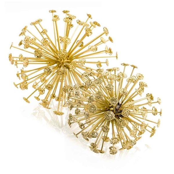 Modern Day Accents Remolino Starburst Gold or Silver Spheres - Set of 2