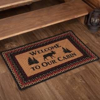 """Cumberland Stenciled Moose Jute Rug Rect Welcome Cabin 20x30 - 1'8"""" x 2'6"""""""