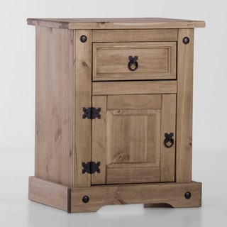 Corona 1 Drawer/ 1 Door Solid Wood  Brown Nighstand
