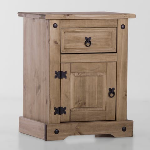 Madison 1 Drawer/ 1 Door Solid Wood Brown Nighstand