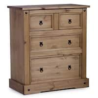 Porch & Den Gordana Brown Solid Wood 4-drawer Dresser Chest