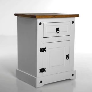 Corona 1 Drawer/ 1 Door Two Tone White Wood Nighstand