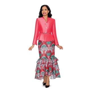 Giovanna Collection Women's 2-piece Virtual Silk V-neck Skirt Suit