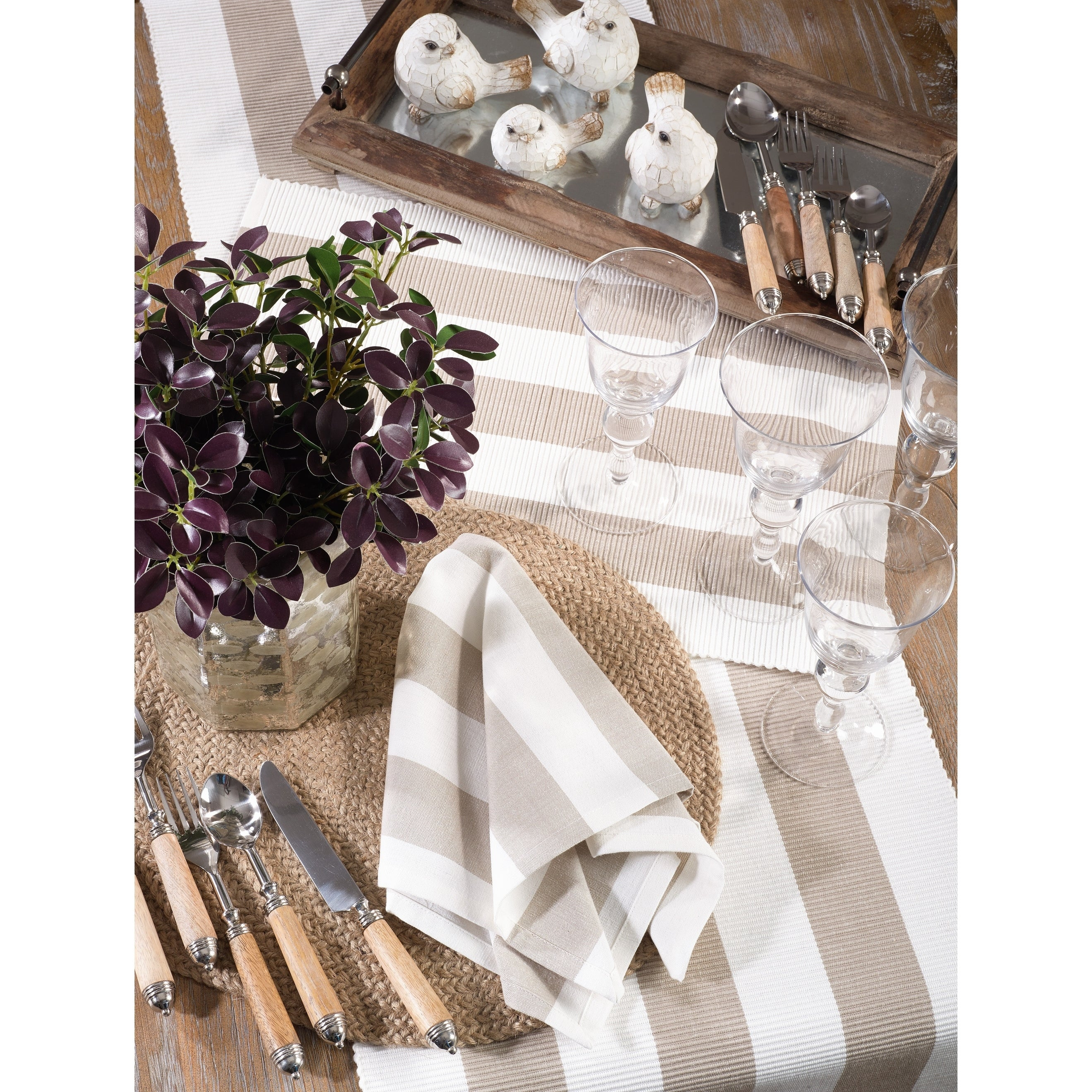 Saro Lifestyle Taupe Cotton Placemats With Striped Design Set Of 4 Overstock 27599719