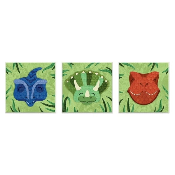 The Kids Room By Stupell Green Textured Dinosaurs in the Jungle Wall Plaque Art, 3pc, each 12 x 12, Proudly Made in USA