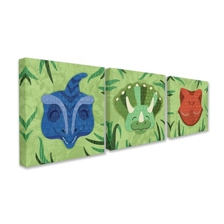 The Kids Room By Stupell Green Textured Dinosaurs in the Jungle Trio Canvas Wall Art, 3pc, each 17 x 17, Proudly Made in USA
