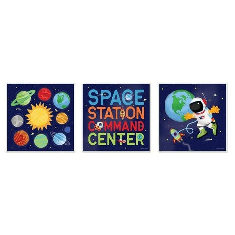 The Kids Room by Stupell Bright Space Station Command CenterWall Plaque Art, 3pc, each 12 x 12, Proudly Made in USA