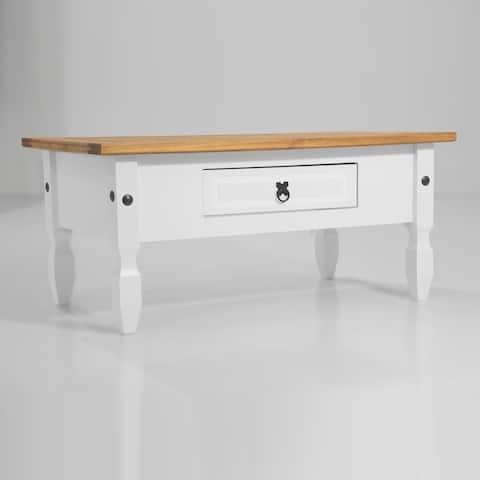 Madison 1 drawer White Wood Coffee Table