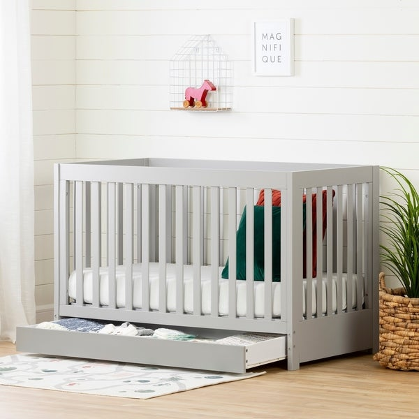 South Shore Grey Wood Cookie Crib and Drawer