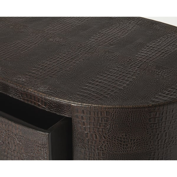 Groovy Shop Butler Arnaud Modern Brown Leather Oval Console Chest Ibusinesslaw Wood Chair Design Ideas Ibusinesslaworg